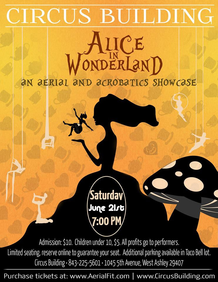 Alice in Wonderland themed aerial and acro showcase